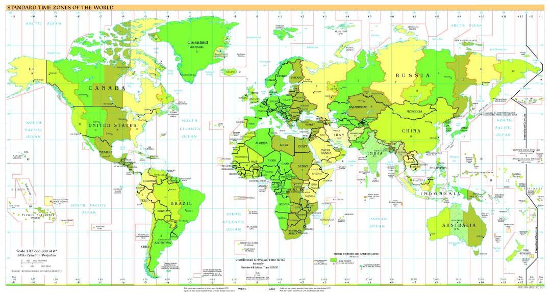 Time zone map europe